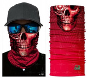 Red Skull Tubular Protective Dust Mask Bandana Motorcycle Polyester Scarf Face Neck Warmer for Snowboard Paintball Skiing Motorcycle Biking