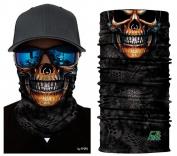 Gold Skull Tubular Protective Dust Mask Bandana Motorcycle Polyester Scarf Face Neck Warmer for Snowboard Paintball Skiing Motorcycle Biking