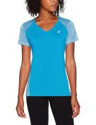 Asics SS Fuzex V-Neck Short Sleeve T-Shirt for Women, Womens, Fuzex V-Neck SS