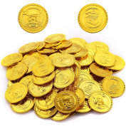 Biging 50 Pieces Pirate Gold Coins Play Set Pack Party Bag Favour