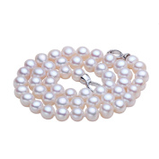 SMOKOKO Pearl Jewellery Genuine White Freshwater Cultured Pearl Necklace - AAA Quality
