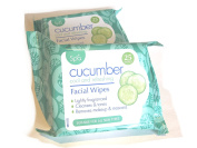 Spa Lovingly Lightly Fragranced Cucumber Facial Face Make Up Wipes for Cleansing & Toning; Removing Mascara for all Skin Types
