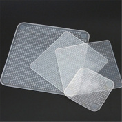 ZHOUBA 4 Pcs Clear Square Reusable Silicone Food Saran Wrap Seal Cover Kitchen Tool