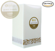 Party Bargains Disposable Linen-feel Paper Guest Towels | Durable & Decorative Cloth-like Soft Bathroom Hand Napkins for Dinner, Wedding or Cocktail Party | White & Gold 100 Count