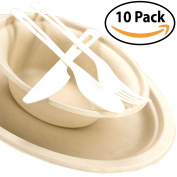 Biodegradable, Tree Free Tableware Picnic Pack. 10 Place Settings Knife, Fork, Spoon, Plate, Bowl are Disposable, Certified Compostable, Eco-Friendly, Microwavable and Safe for Hot or Cold Foods