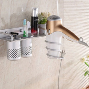 Multinational Wall-mounted Sturdy Silver Aluminium Hair Dryer Shelf Storage Holder Wall Hanger Bathroom Accessories With 2 Cups