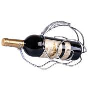 Modern Style Stainless Steel Snail Red Wine Bottle Holder Home Bar Kitchen Shelf Gift - Silver