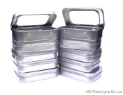 10 x Mini Hinged Blank Silver Storage Tins with window Ideal For Craft Projects, Sewing kits