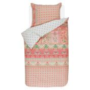 Pip Studio Percale Bed Linen Nilgirig Pink Flowers Berries Birds, 100% Cotton, Pink, 155 x 220 cm + 80 x 80 cm