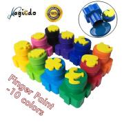 Magcido Finger Paints, 10 Colours Washable Kids Paint, Finger Paint with Stamp for Toddlers, Washable Kids finger Painting Set, Colourful Kid's Paint Set, Eco-Friendly and Non Toxic Finger-Paint