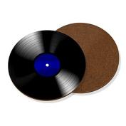 Vinyl Record Blue Coaster Drinks Mat