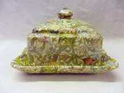 William Morris golden lilly design square covered cheese dish