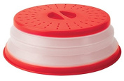 Plastic Collapsible Microwave Cover keeps food moist, BPA free and dishwasher safe- expands from 2.5cm - 8.9cm high for easy storage and perforated for ventilation. .