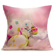 Kanzd Happy Easter Sofa Bed Home Decor Festival Throw Pillow Case Sofa Cushion Cover Bunny Character