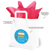 Boys Party Bags with Handles. Red Tissue and Blue Stickers