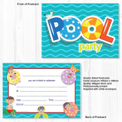 Swimming Pool Party Invitations Ready to Write with Envelopes