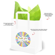 Bright Coloured Kids Party Bags with Green Tissue Paper