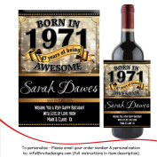 Personalised Born In Year 1971 Happy 47th Birthday WINE / CHAMPAGNE Bottle Label Sticker N152 Gift for Him Her