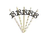 18th Birthday Straws - Glittery Black with Gold Straws