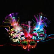 HUHU833 Women Venetian LED Fibre Mask Masquerade Fancy Dress Party Princess Feather Masks