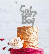 Boy or Girl Cake Topper - Glittery Silver Baby Shower Cake Topper