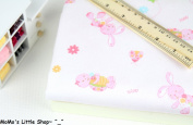 Quality Nursery/Children/Babies 100% Brushed Cotton Fabric (1/2 Metre) —— Lovely Pink Bunny & Turtle on White Background