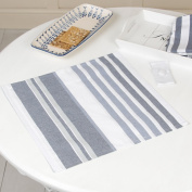 Luxury Nautical Blue and White Stripe Design Fabric Napkin and holder for formal occasion tables - beautiful high quality 100% cotton napkin or dining / breakfast - great for family meals and ideal housewarming gift for an avid host - vintage colours - ..