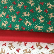 CHRISTMAS FABRIC BUNDLE - Christmas Deer Bows - Bundle - QTFB08 - by Quilting Treasures - 100% Cotton