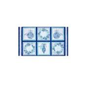 Winter Frost Christmas Ornaments & Wreath Blue Fabric Panel Fabrics