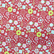 Clarke & Clarke Retro Flowers Red Cotton Fabric Decorative Fabric Material