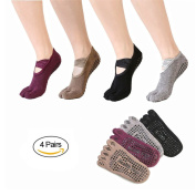 SANIQUE 4 Pairs Anti-slip Five Toe Yoga Pilates Socks Non Slip Skid Barre Sock with Grips for Women