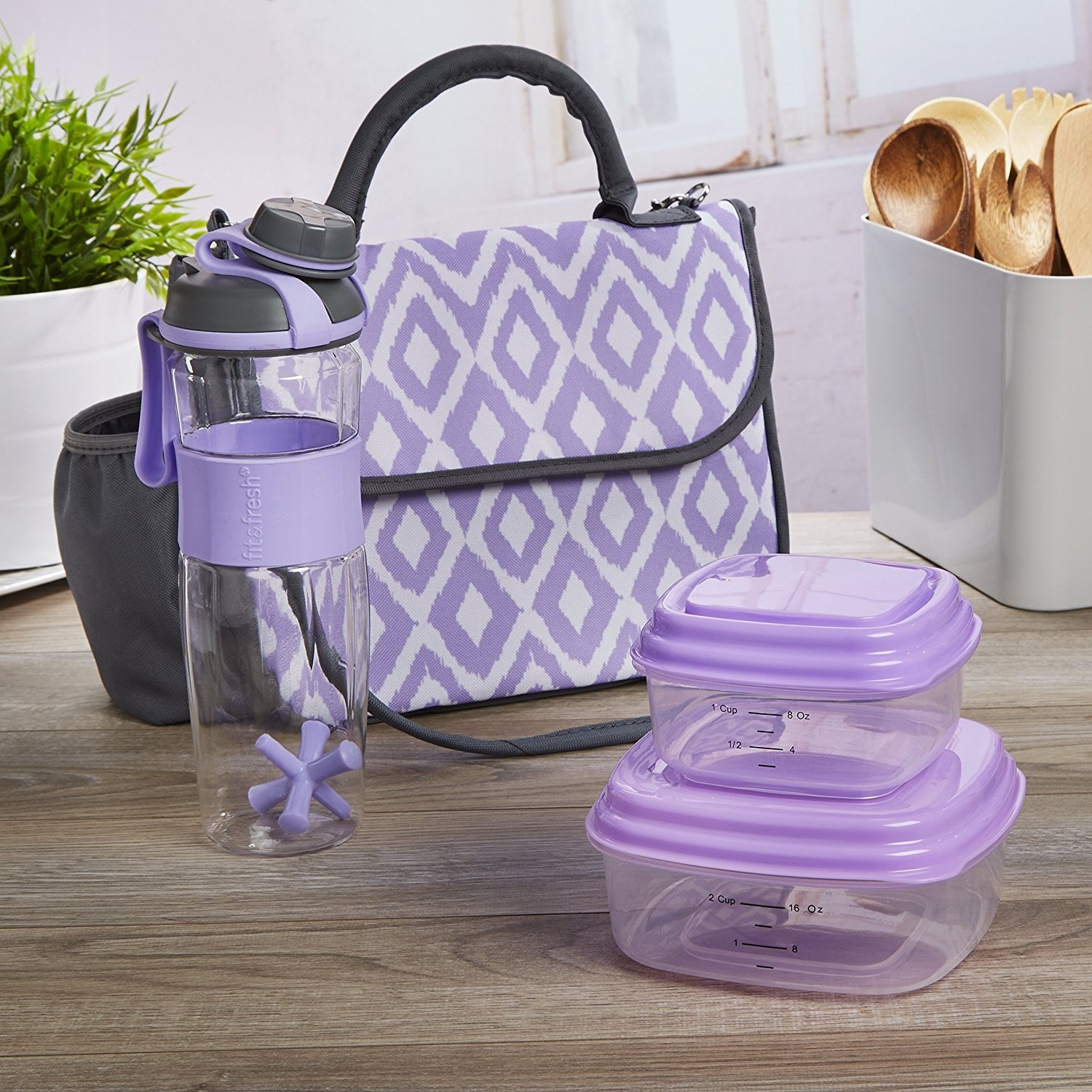 0a6100793ec Fit & Fresh Lovelock Insulated Lunch Bag Kit for Women with Reusable  Container Set and Shaker Bottle, Lavender Painted Diamonds by Fit & Fresh -  Shop Online ...