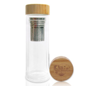 Tea Genie Double Walled Glass Infuser Bottle, Tea Infuser Bottle with Bamboo Cover