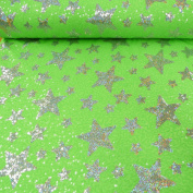 Sequins Fabric Stars Green Silver Width 1.5