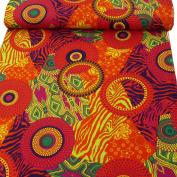 Multi Colour Pink Orange Polyester Retro 60s 1.5 m wide