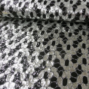 Sequin Black Fabric Balls Silver 1.4 m width