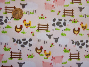 The Craft Junction OLD MACDONALD Farm Animals Print Polycotton Fabric Craft Dressmaking Sewing - Per Metre