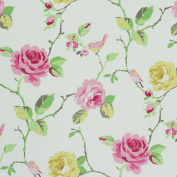 Decorative Pink Rose Cotton Fabric, Large, Cream