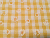 Daisy Puff Print Gingham Dress Fabric Yellow - per metre