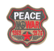 FamilyFirst Tradings Peace Iron On Patch- Vietnam Army No War Hippies Military Embroidered Badge Applique