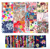 RayLineDo® 100 Printed Polyester Patchwork Bundle Size:10x10cm Craft Project Scrapbook Quilting DIY Bag Doll Clothing