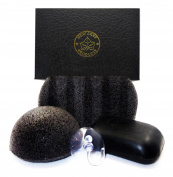 Charcoal Face and Body Care Kit - Charcoal Facial Sponge, Charcoal Body Sponge and Charcoal Soap - for Acne, Blackheads, Psoriasis, Ingrown Hairs, Rough or Bumpy Skin - New Leaf Products