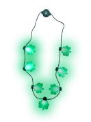 Light up St. Patricks Day Shamrock Necklace Flashing Green Bulb LED Glow Clover