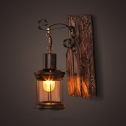 ASL Wall Lamp Solid Wood Art Lantern Bar Coffee Clothing Store Restaurant Bedroom Nostalgia Glass Cover New