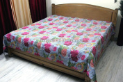 DK Homewares Indian Kantha Quilt Light Grey Queen Size Bed Cover Hand Stitched Cotton Tropicana Print Double Bed Bedspread