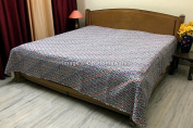 DK Homewares Indian Kantha Bedspread Quilt White Queen Size Bedding Hand Stitched Cotton Ikat Print Double Bed Coverlet