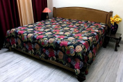 DK Homewares Indian Kantha Bedspread Quilt Black Queen Size Bed Cover Hand Stitched Cotton Tropicana Print Double Bed Coverlet