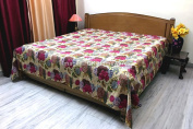 DK Homewares Indian Kantha Bedspread Quilt Beige Queen Size Bedding Hand Stitched Cotton Tropicana Print Double Bed Coverlet