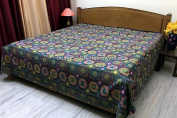DK Homewares Indian Kantha Bedspread Quilt Black Queen Size Bed Cover Hand Stitched Cotton Floral Print Double Bed Coverlet