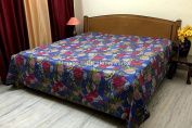 DK Homewares Indian Kantha Bedspread Quilt Ink Blue Queen Size Coverlet Hand Stitched Cotton Tropicana Print Double Bed Coverlet